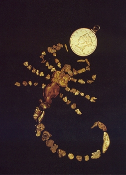 Scorpion made from gold nuggets