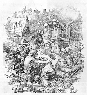 Old engraving of gold miners.