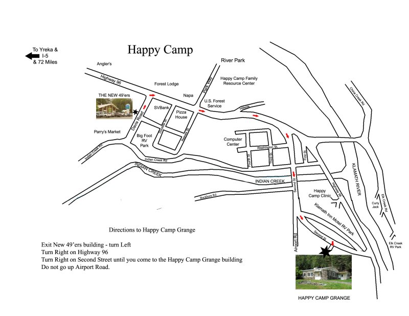 Map to grange hall