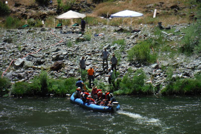 Rafting across the river