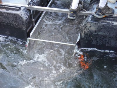 Floating sluice close